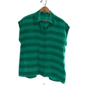 Equipment Green Striped Blouse